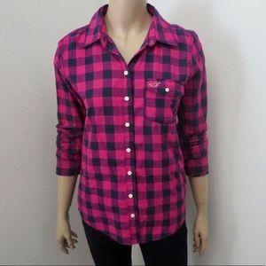 • ➳ Hollister Button Down Plaid Flannel Medium
